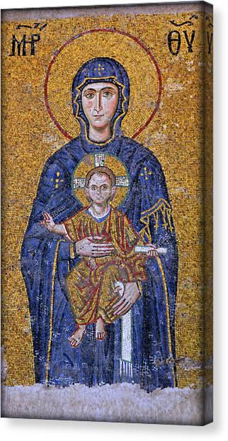 Byzantine Canvas Print - Virgin Mary And Christ Child by Stephen Stookey