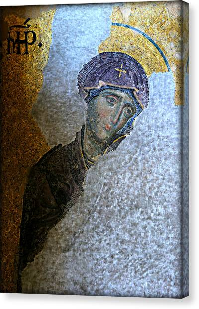 Byzantine Art Canvas Print - Virgin Mary by Stephen Stookey
