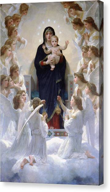 Virgin Mary With Angels Canvas Print