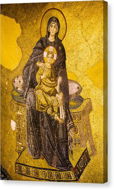 Virgin Mary With Baby Jesus Mosaic Canvas Print