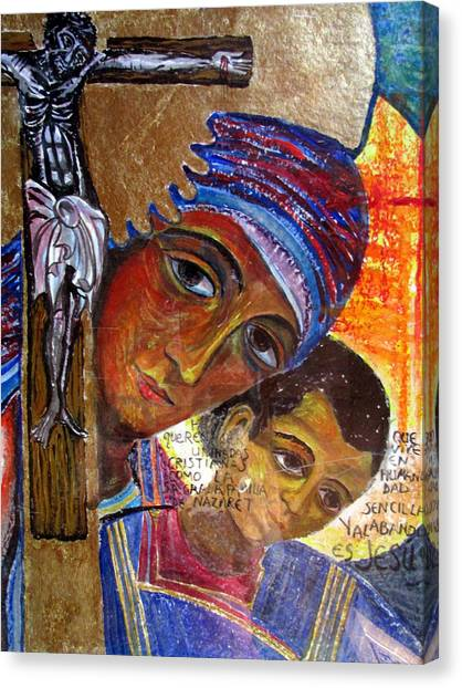 Virgin Of The Way And The Cross Canvas Print