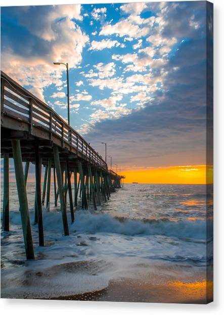 Virginia Beach Pier Into The Sun Canvas Print