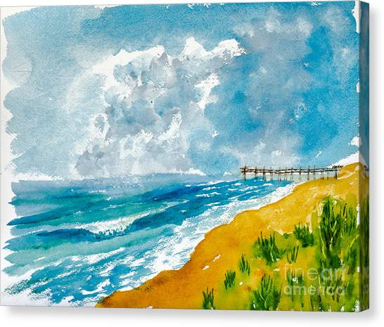 Virginia Beach With Pier Canvas Print