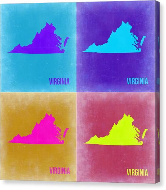 Virginia Canvas Print - Virginia Pop Art Map 2 by Naxart Studio