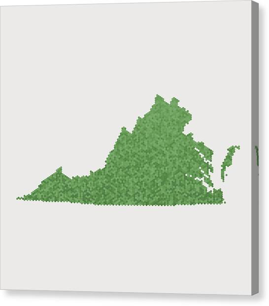 Virginia State Map Green Hexagon Pattern Canvas Print by FrankRamspott