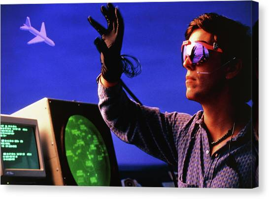 Air Traffic Control Canvas Print - Virtual Reality: Futuristic Air Traffic Control by Peter Menzel/science Photo Library