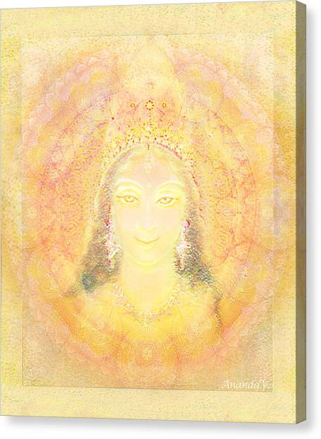 Vision Of A Goddess - A Being Of Light Canvas Print by Ananda Vdovic