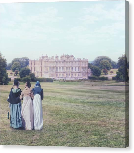 Victorian Garden Canvas Print - visiting Mr Darcy by Joana Kruse