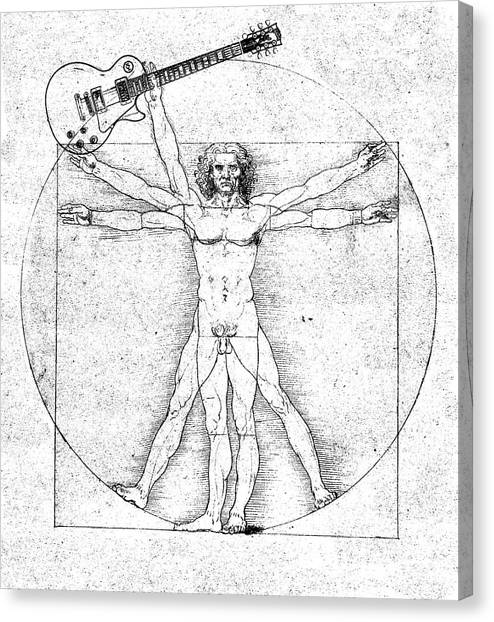 Guitars Canvas Print - Vitruvian Guitar Man Bw by Jon Neidert