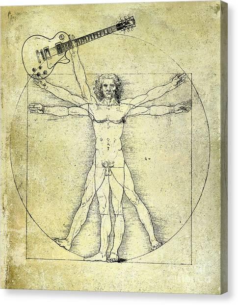 Mandolins Canvas Print - Vitruvian Guitar Man by Jon Neidert