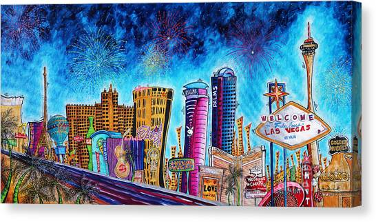 Sin Canvas Print - Viva Las Vegas A Fun And Funky Pop Art Painting Of The Vegas Skyline And Sign By Megan Duncanson by Megan Duncanson