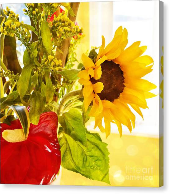 Vivid Cheery Sunflower Bouquet Canvas Print