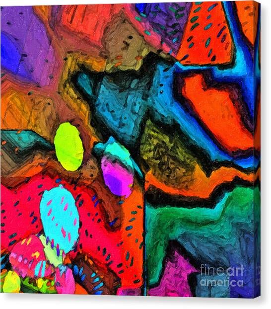 Canvas Print featuring the digital art Vivid Mix by Dee Flouton