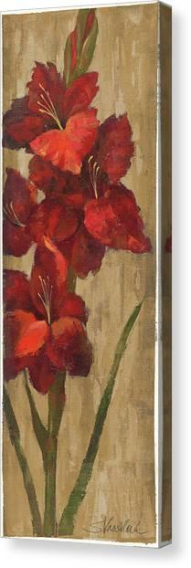Gladiolas Canvas Print - Vivid Red Gladiola On Gold by Silvia Vassileva