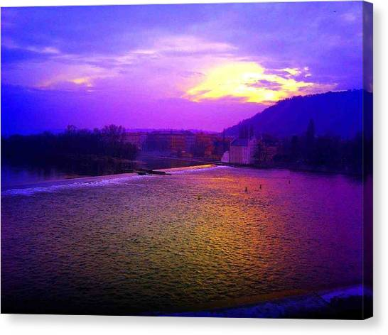 Vltava River Prague Sunset Canvas Print