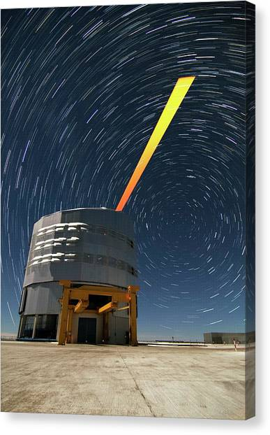 Chilean Canvas Print - Vlt And Laser Guide Under Star Trails by Dave Jones/eso