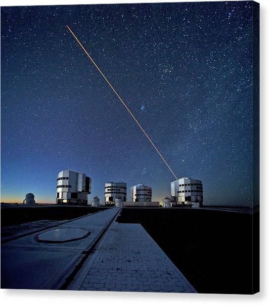 Atacama Desert Canvas Print - Vlt And Laser Guide Under Stars by Eso/s. Brunier