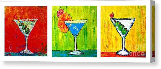 Vodka Martini Collection Bar Decor - Modern Art Canvas Print