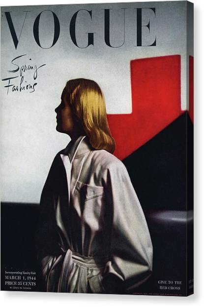Fashion Canvas Print - Vogue Cover Featuring A Model Wearing A White by Horst P. Horst