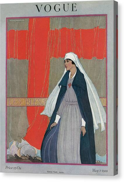 Health Care Canvas Print - Vogue Cover Featuring A Nurse by Porter Woodruff