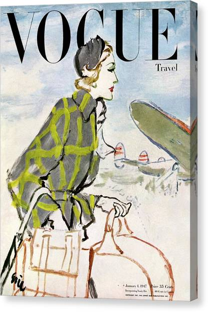 Plaid Canvas Print - Vogue Cover Featuring A Woman Carrying Luggage by Carl Oscar August Erickson