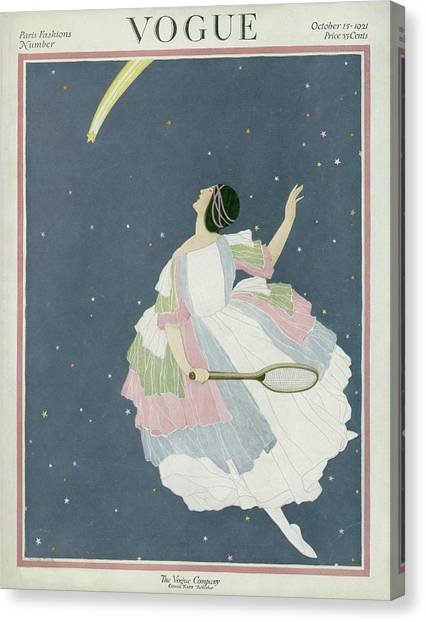 Shooting Stars Canvas Print - Vogue Cover Featuring A Woman Flying by George Wolfe Plank