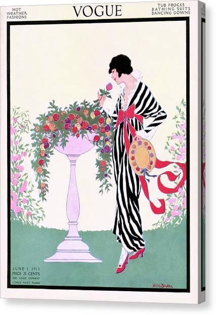 Vogue Cover Featuring A Woman Smelling A Rose Canvas Print by Helen Dryden