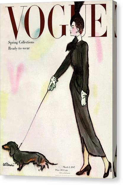 Fashion Canvas Print - Vogue Cover Featuring A Woman Walking A Dog by Rene R. Bouche