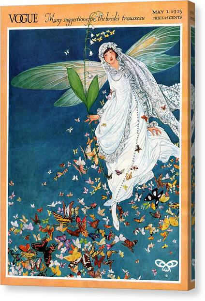Vogue Cover Featuring A Woman Wearing A Bridal Canvas Print