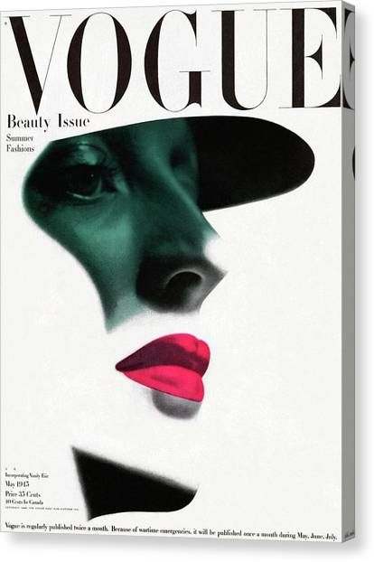 Vogue Cover Featuring A Woman's Face Canvas Print by Erwin Blumenfeld