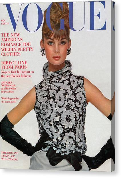 Personality Canvas Print - Vogue Cover Featuring Jean Shrimpton by Bert Stern