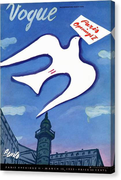 Vogue Cover Illustration Of A Dove Holding A Sign Canvas Print