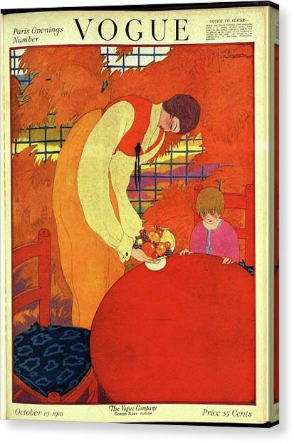 Vogue Cover Illustration Of A Mother And Son Canvas Print by Georges Lepape