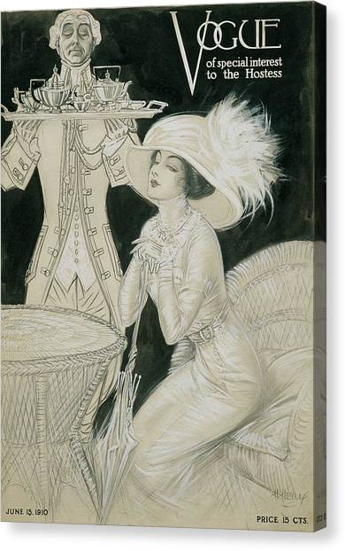 Vogue Cover Illustration Of A Valet Carrying Canvas Print by H. Heyer