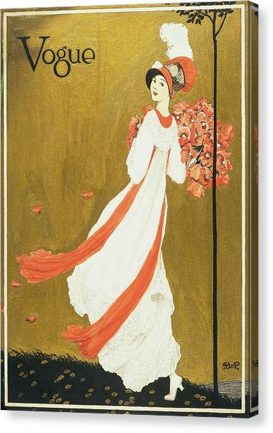 Vogue Cover Illustration Of A Woman Carrying Canvas Print by George Wolfe Plank