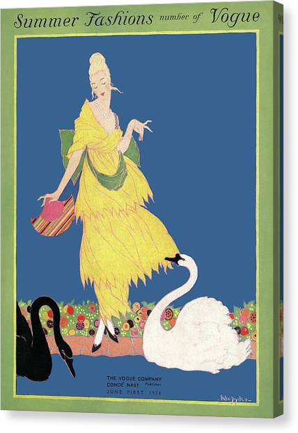 Vogue Cover Illustration Of A Woman Looking Canvas Print