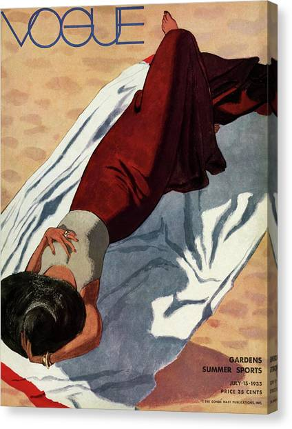 Vogue Cover Illustration Of A Woman Lying Canvas Print by Pierre Mourgue