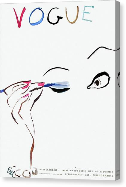 Vogue Cover Illustration Of A Woman Putting Canvas Print