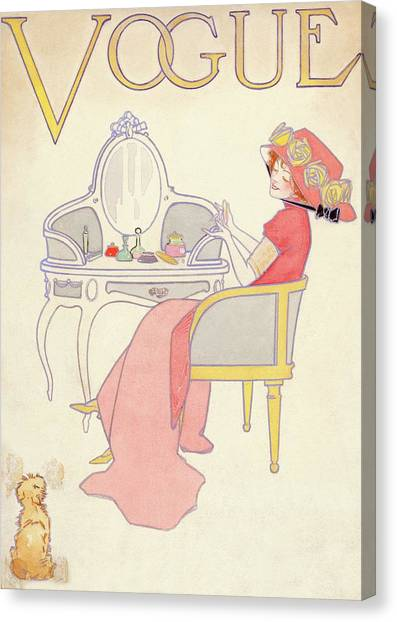 Vogue Cover Illustration Of A Woman Sitting Canvas Print by Davis