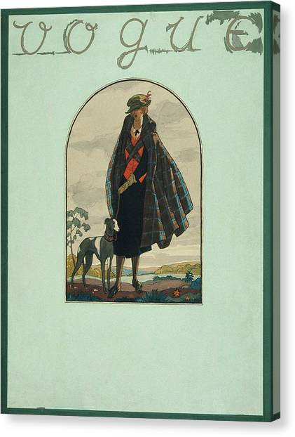 Vogue Cover Illustration Of A Woman Standing Canvas Print by Leslie Saalburg