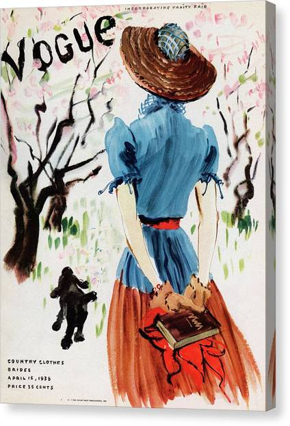 Vogue Cover Illustration Of A Woman Walking Canvas Print by Rene Bouet-Willaumez
