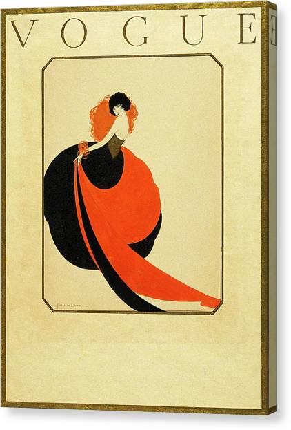 Vogue Cover Illustration Of A Woman Wearing Canvas Print by Reinaldo Luza
