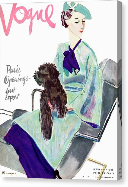 Red Lipstick Canvas Print - Vogue Cover Illustration Of A Woman With Dog by Pierre Mourgue