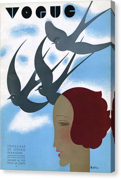 Vogue Cover Illustration Of A Woman's Profile Canvas Print