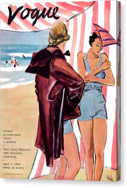 Vogue Cover Illustration Of Two Women At Beach Canvas Print