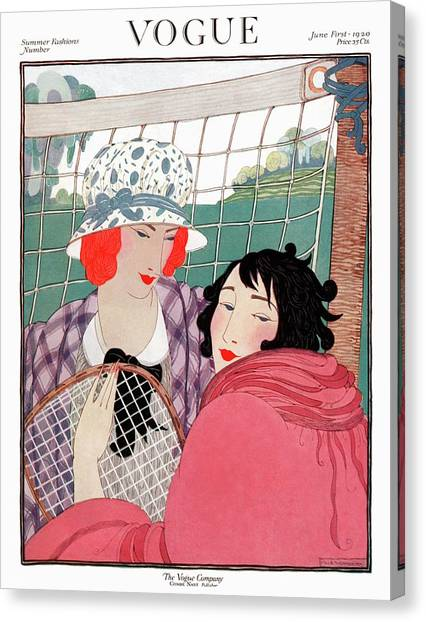 Vogue Cover Illustration Of Two Women In Front Canvas Print by Helen Dryden