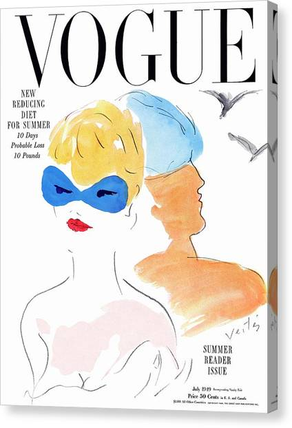 Vogue Cover Illustration Of Two Women Standing Canvas Print by Marcel Vertes