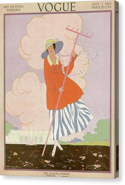 Vogue Cover Illustration Of Woman Holding Rake Canvas Print by Helen Dryden