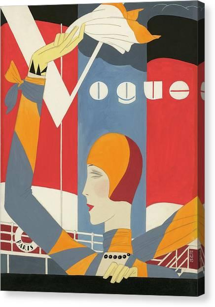 Vogue Cover Illustration Of Woman Waving Canvas Print by Eduardo Garcia Benito
