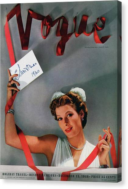 Vogue Cover Of Helen Bennett Wearing Tiffany & Canvas Print by John Rawlings